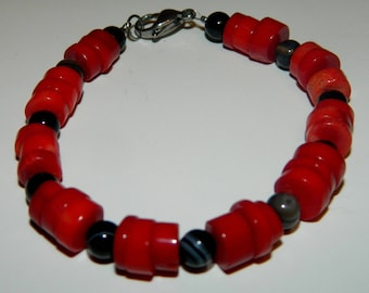 "Red Coral and Black Onyx Bracelet - Protection - 7.5"" Long - One Size Only"