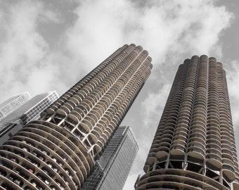 Chicago Photography, Chicago Marina City, Street Photography, Black and White Photography, Chicago Architecture - Marina City Towers