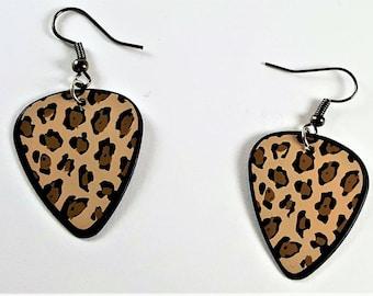 Leopard Print Guitar Pick Earrings