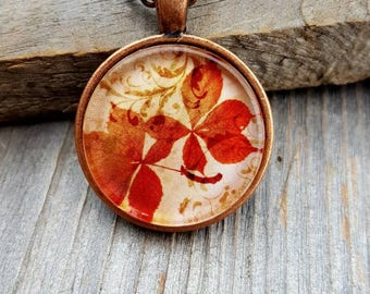 Autumn Leaf Necklace, Vintage Necklace, Antique Copper, Fall Fashion, Pendant Necklace, Autumn Jewelry, Gift for Woman, Women's Jewelry