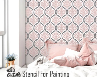 JASMINE TRELLIS & DAMASK Stencil - Moroccan French Romantic Furniture Wall Craft Stencil for Painting - JASM03