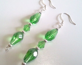 Green Teardrop Earrings, Emerald Green Faceted Crystal Jewelry, Green and Silver Dangle Earrings, St. Patricks Day Bead Jewelry Design