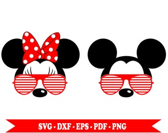 Mickey mouse svg with sunglasses, Minnie mouse svg sunglasses, svg files, eps, dxf, png, pdf. For Silhouette Cameo, Cricut, vinyl