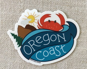 Oregon Coast Vinyl Sticker / Oregon Beach Car Sticker / Water Bottle Sticker / Fun Laptop Sticker / Cute Waterproof Sticker / Crab Sticker