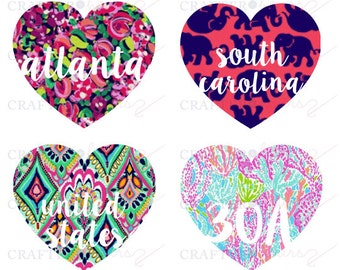 Preppy Print Places Love Decal - Large size, great for car decals. Choose your favorite city/state/country/place. Customization available!