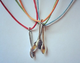 Silver spoon charm on waxed cotton cord adjustable friendship bracelet