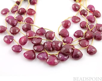 Natural Genuine Ruby AA Quality Precious Gemstones, Rich Lustrous Color Large Faceted Heart Drops 10-13mm, 1 Full Strand, (Rby10-13Hrt)