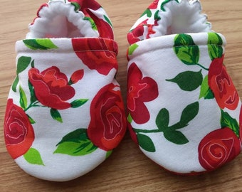 Baby shoes,Red Rose,baby shoes,Beauty and Beast theme rose shoes,Fabric Baby shoes,Baby shower gift,gift,girl,girl shoes,Handmade baby shoes