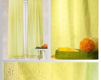 Yellow Lace Cotton Curtains