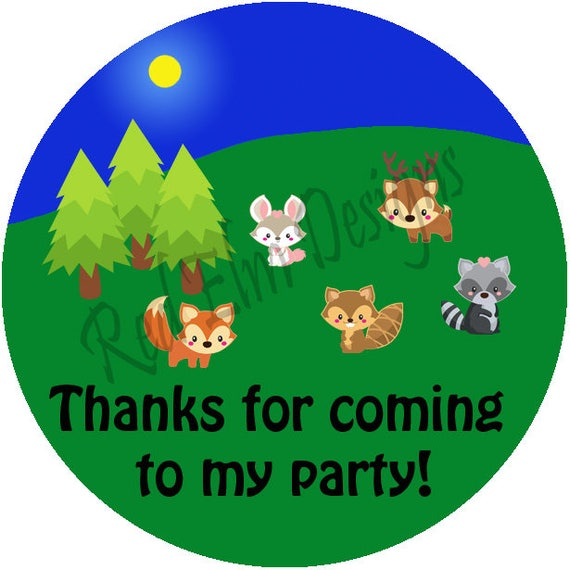 Wood animal stickers sheet of 20 2 round animal round stickers camping stickers 2 inch round stickers animal favors
