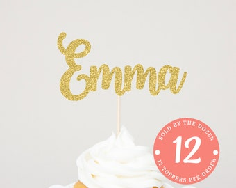 Personalized Cupcake Topper | Custom Name Cupcake Toppers | Name Cake Sign | Custom Name Topper | First Birthday Toppers Gold First Birthday