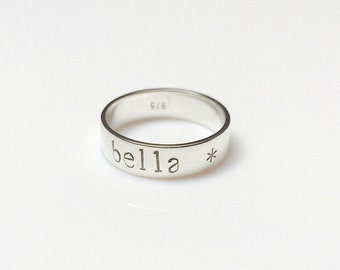 Personalised Hand-stamped Sterling Silver Name Ring