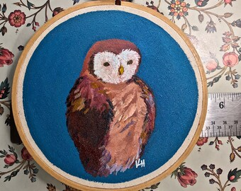 Original Painting of Barn Owl on blue painted in acrylic on canvas stretched on a 5 inch round embroidery hoop ready to hang