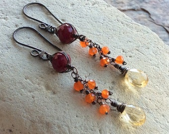 RUBY, CITRINE and CARNELIAN Multi Gemstone earrings, sterling silver jewelry, woven, handmade by Angry Hair Jewelry