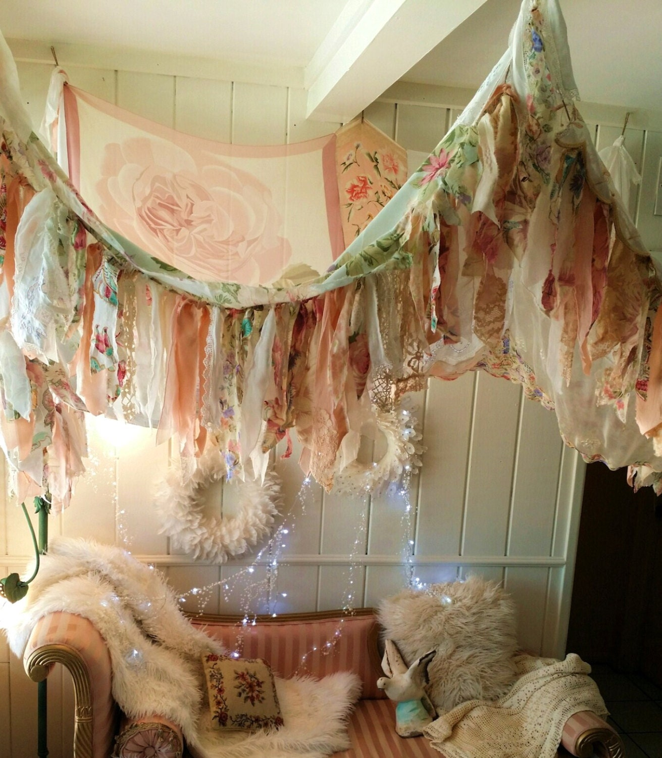 Shabby Chic Boho Bedroom Canopy Bohemian Hippy Vtg Scarves Gypsy Hippie Patchwork Chuppah Wedding Decor Curtain