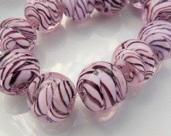 14mm. 10CT. Purple Glass Round Beads, Striped, Glass Beads, 3mm hole, Handmade Lampwork Beads, S19