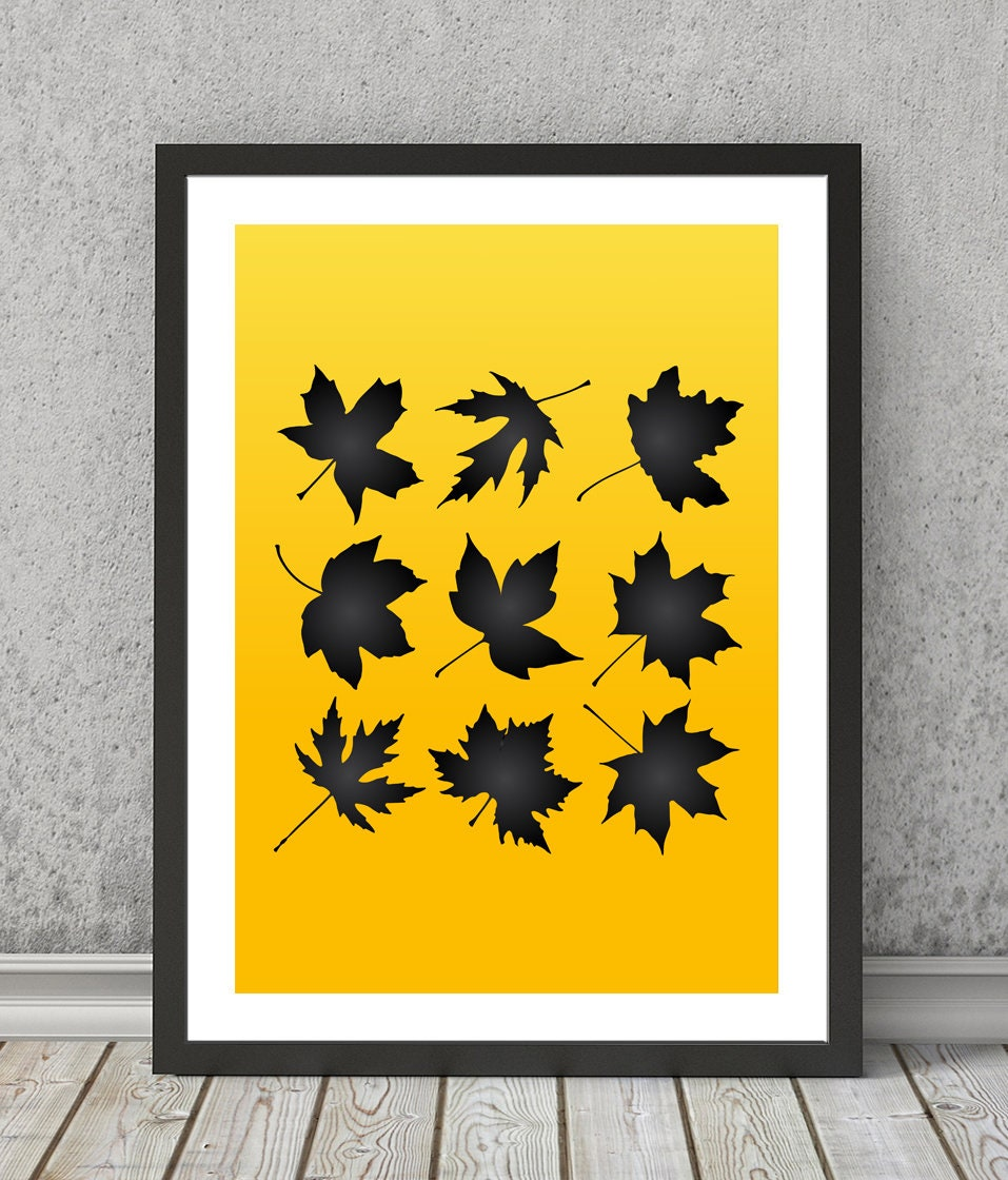 Leaves print Leaves poster Leaves art Leaves wall decor Autumn