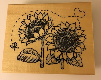 Anita's Wood Mounted Rubber Stamp Sunflowers