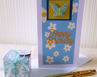 Blue & Yellow Butterfly Birthday Greeting Card