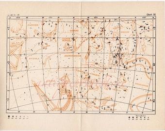 1908 STAR CHART IX original antique celestial constellation figure astronomy map print - canis orion gemini taurus rabbit leo hydra leo argo