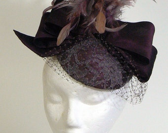 plum silk mother of the bride hat - purple silk bow cocktail hat - special occasion silk lace fascinator