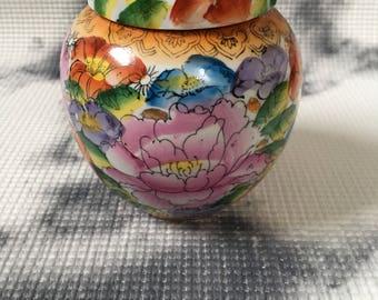 Vintage Vibrant Floral Ginger Jar