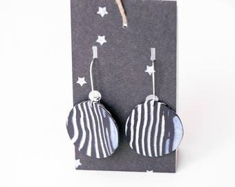 Black and white porcelain earrings, ceramic bijoux, ceramic earrings