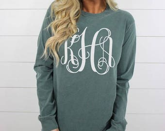 Long Sleeve Personalized Monogrammed Comfort Color Tee, Full Chest Monogram Long Sleeve Tee, Comfort Colors Long Sleeve Tee