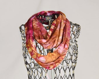 Infinity Scarf-Cotton Jersey Scarf-Marble Abstract Scarf-Maroon and Palomino Gold OR Pick your two colors