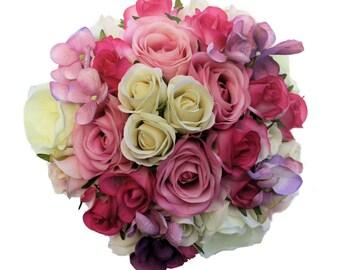 Rose Bridesmaid's Bouquet Pink & Mauve - Artificial Flowers, Wedding Keepsake Bouquet, Silk Flowers