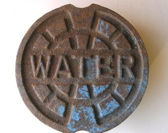 cast iron water meter cover garden decor stepping stone industrial decor industrialhabitat