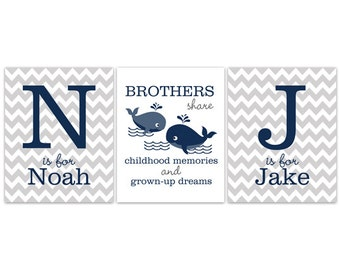Nursery Wall Art, Brothers Wall Art, Brothers Quote, Grey Chevron Monogram Art, Whale Nursery, Twin Boys Wall Art, Boys Room Decor - KIDS138