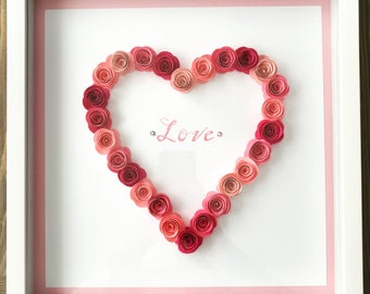 Handmade 3D Paper Flower Love Heart Sign