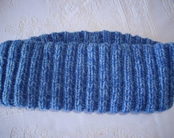 Blue Infinity scarf  hand-knit