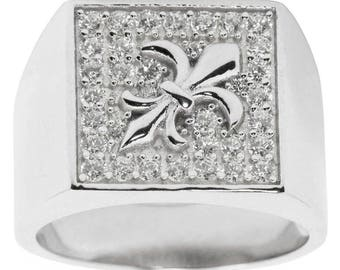 Fleur de Lis Sterling Silver Men's Ring (Size 10)