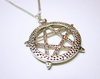 NECKLACE JEWELRY Five Point Pentagram Pendant Pentagram Necklace Silver Pentagram Gift Idea For Her Statement Necklace