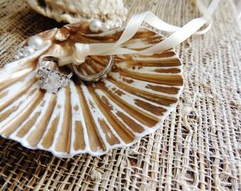 SEASHELL RING HOLDER Ring Bearer Wedding Ring Holders Dish Box