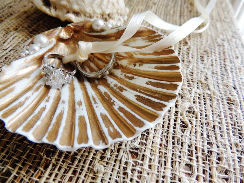 Sea Shell Ring Bearer Wedding Ring Holder Bowl Dish Ring