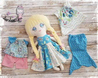 Dress up rag doll - Fabric Doll - Cloth Doll - Handmade - Soft Doll - Doll Clothes