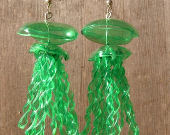 Green Jellyfish Earrings Made From Recycled Plastic