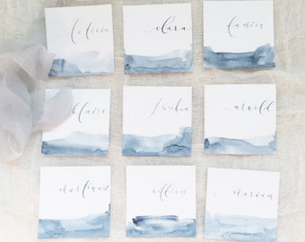 Dusty Blue Place Cards | Something Blue | Watercolor Place Cards | Blue Theme Wedding | Square Place Cards Calligraphy | Square Shape