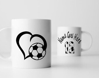 Love Soccer personalized  11 oz  sublimation  coffee mug. A name and player's number will be added to cup