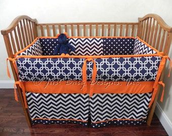 Custom Baby Bedding Set Kyle - Boy Baby Bedding, Navy and Orange Crib Bedding