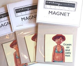 Beach Girl Magnet 2x2 inch from original design