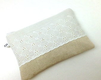 On Sale - Wedding Bridesmaid Clutch White Scallop Eyelet Lace on Natural Cotton