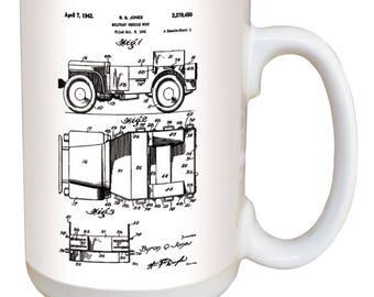 Jeep Mug. Vintage patent art from the archives of the United States Patent Office. On black or white. Large 15 ounce mug comfortable handle