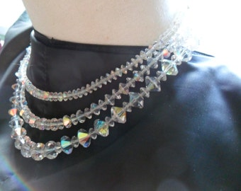 Triple Strand Crystal Necklace REDUCED PRICE
