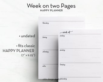 Weekly Planner, Happy Planner, Week on 2 Pages, MAMBI, Weekly Inserts, Printable Planner, Undated Planner, Daily Planner, MAMBI Planner