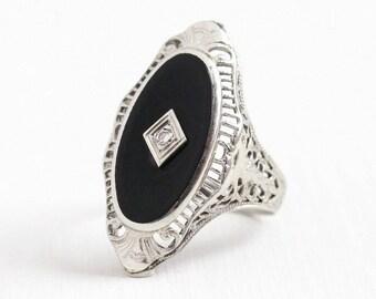Sale - Antique Onyx Ring - Vintage Art Deco Era 10K White Gold Diamond Ring - 1920s Size 6 Filigree Black Gemstone Statement Navette Jewelry