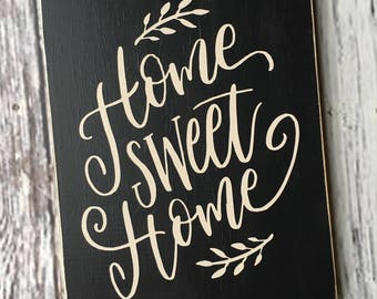 Ready to Ship | home sweet home sign | entry way sign | enrty foyer decor | housewarming gift | wood sign | home decor | Style# HM212